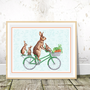 Rabbits on bike print, bunnies, decoration