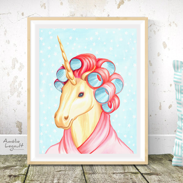 Unicorn with curlers, unicorn art print, unicorn painting, unicorn art, amelie legault, gouache painting