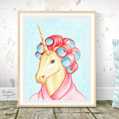 Unicorn with curlers, print, painting