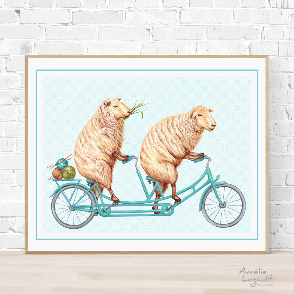 Sheep on bicycle, print, drawing