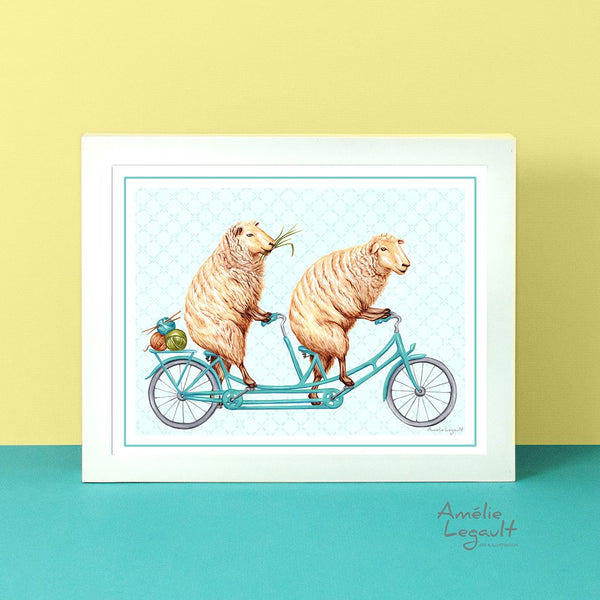 Sheep on a bicycle, art print, sheep drawing, sheep illustration, amélie legault, tandem bike illustration, tandem bike print