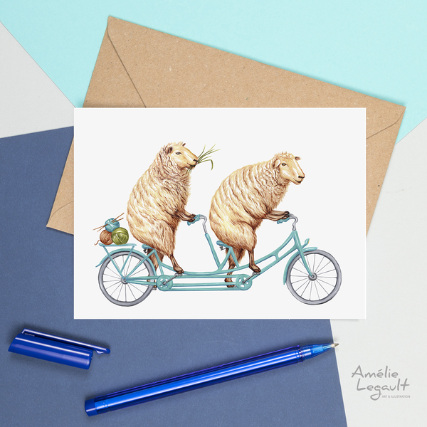 Sheep on bicycle, card, birthday card