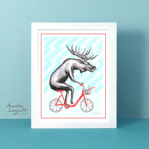 Moose on a bike, art Print, moose Drawing, moose art print, amelie legault, canadian animal, canadian art, canadian artist, bicycle art print, bike illustration