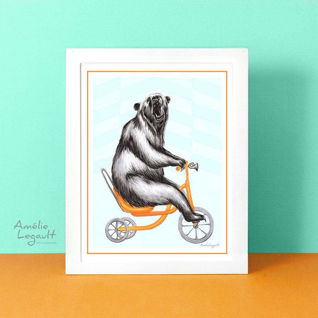 Bear illustration, Bear drawing, bear print, bear riding a bike, bicycle print, canadian animal, canadian artist, amelie legault, art print