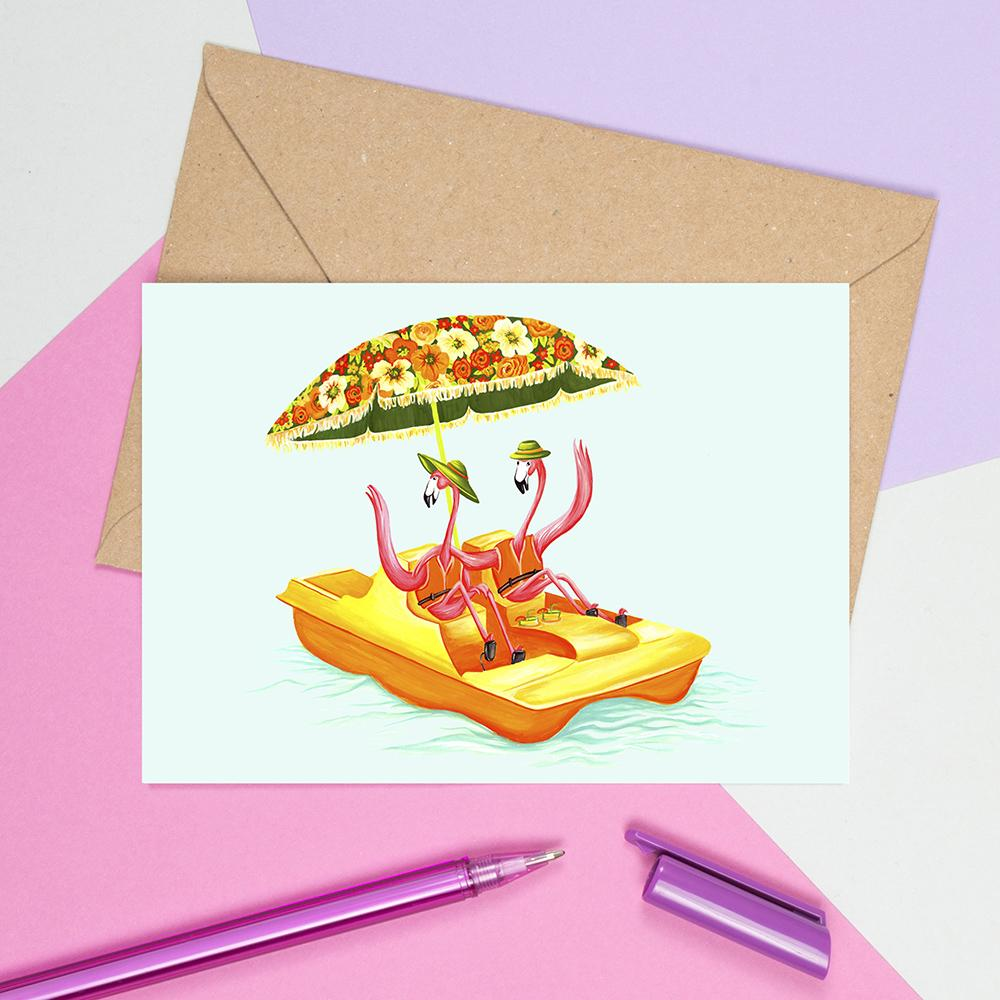 flamingo card, greeting card, birthday card, happy birthday card, pedal boat, vintage card, amelie legault, flamingo party, flamingo theme, flamingo love