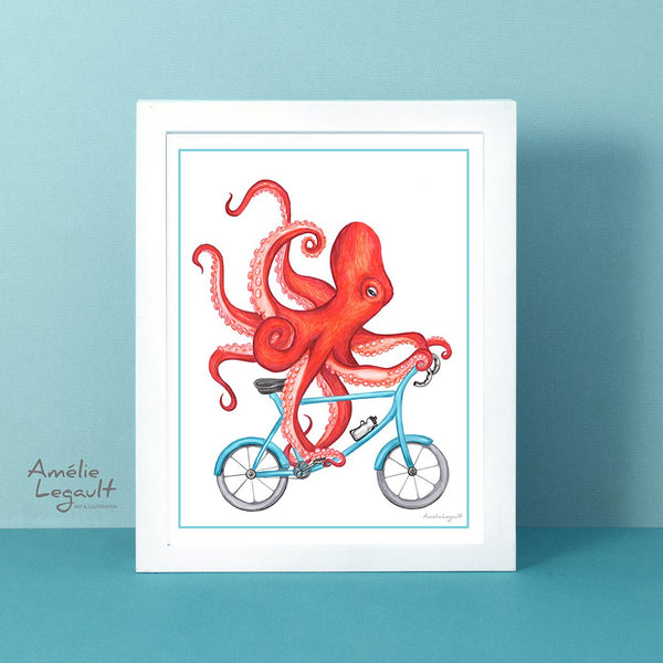 Octopus on a bike, art Print, octopus Drawing, otopus artwork, giant squid, amelie legault, octopus illustration, sea animal