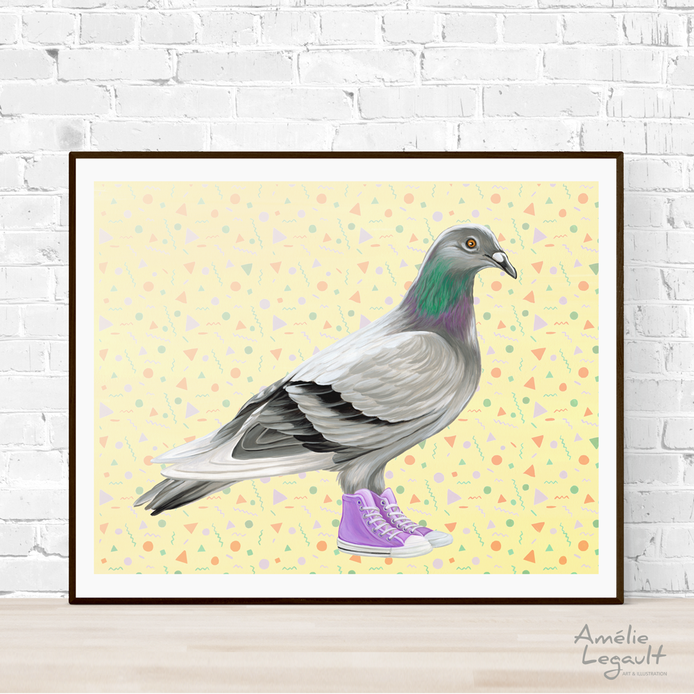 Pigeons wearing Converse Shoes print, painting, home decor