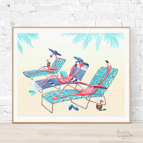Pink flamingo at the beach, Print, Painting