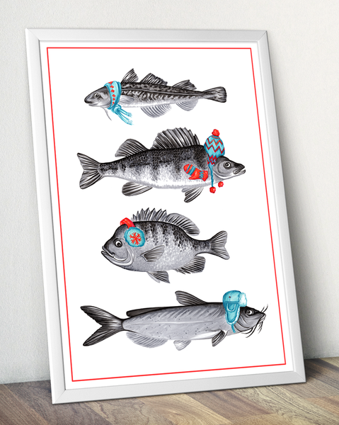 Set of summer and winter fish prints
