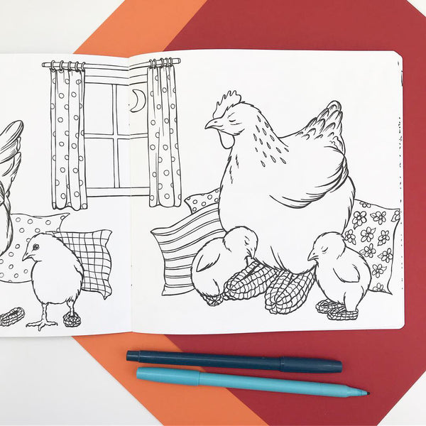 The Fashionable Hens, coloring book
