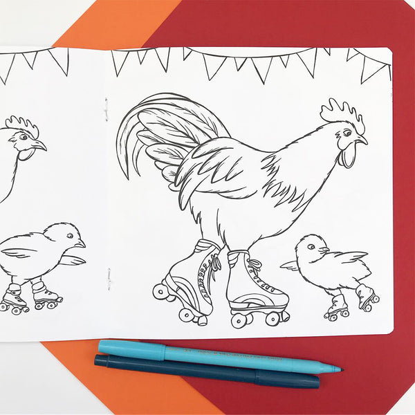 Coloring book, colouring book, amelie legault, fashionable hen, rooster and chicks, coloring for kids, made in canada, roller skating