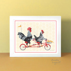 Chicken family on tandem bicycle, art print, kitchen decor, kitchen art, amélie legault, hen illustration, rooster illustration, chicks, tandem bike illustration, artwork