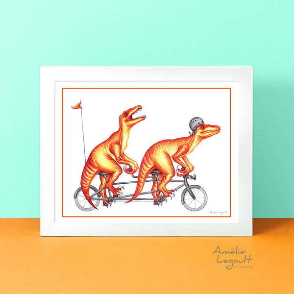 Raptors on a tandem bike, dinosaure print, art print, dinosaure artwork, raptor illustration, amélie legault, dinosairs drawing, tandem bike illustration, tandem bike artwork,