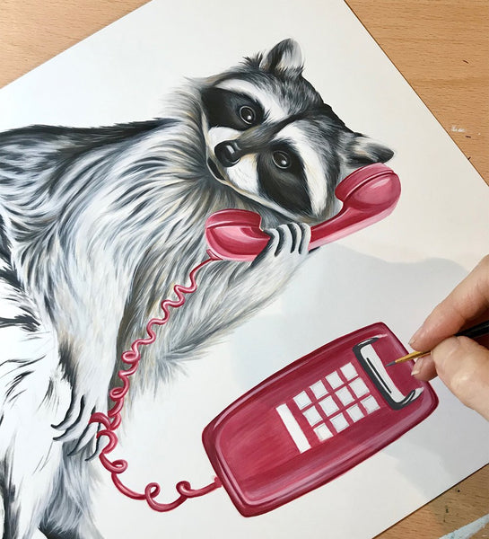 phone illustration, phone painting, wall phone, vintage phone, amelie legault, raccoon painting, canadian art