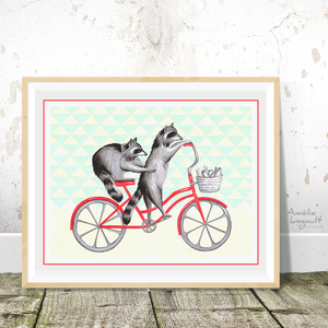 Raccoons on bikes, bike riding raccoons, Print