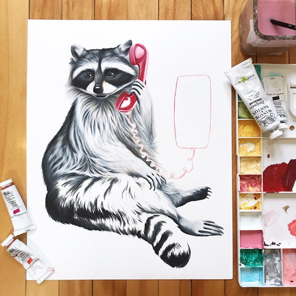 raccoon painting, raccoon artwork, amelie legault, gouache painting, winsorandnewton, canadian art, canadian artist, wall phone, canadian animal, made in canada
