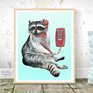 Raccoon on the phone - art print