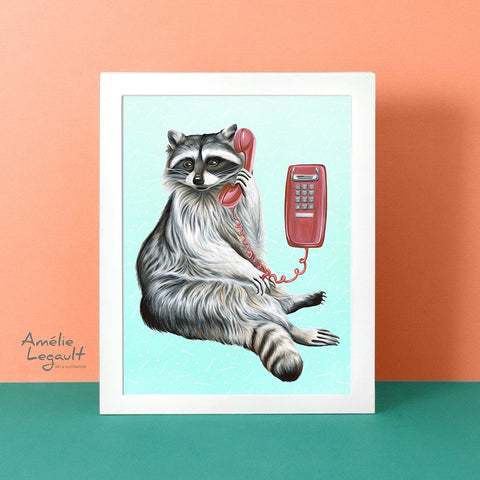 Raccoon on the phone, raccoon illustration, canadian animal, montreal animal, raccoon painting, amelie legault, wall phone, vintage phone, 1980s phone,