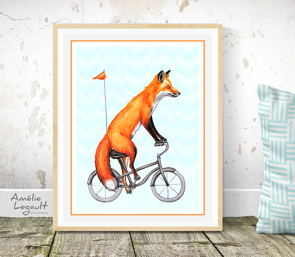 Fox illustration, fox riding a bike, bicycle illustration, amelie legault, canadian artist