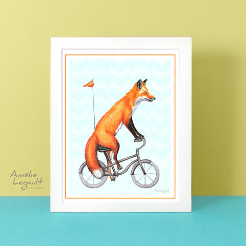 Fox on a bike, art print, fox Drawing, Home decor, fox theme decor, fox drawing, Amélie Legault, canadian animal, canadian art, bicycle print, bicycle art work