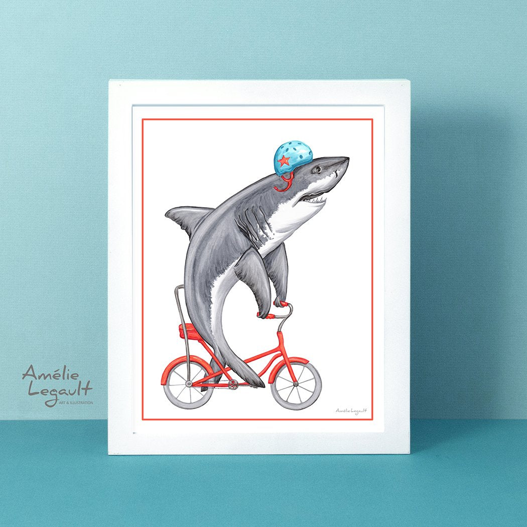 Shark on a bike, art Print, shark Drawing, Home decor, wahsroom decor, amélie legault, shark illustration, shark week, bicycle illustration, bicycle artwork, kid's room decor