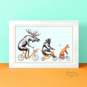 Moose, Bear and Fox, art Print, forest theme decor, forest animal, canadian animal, amelie legault, bear illustration, moose illustration, fox illustration