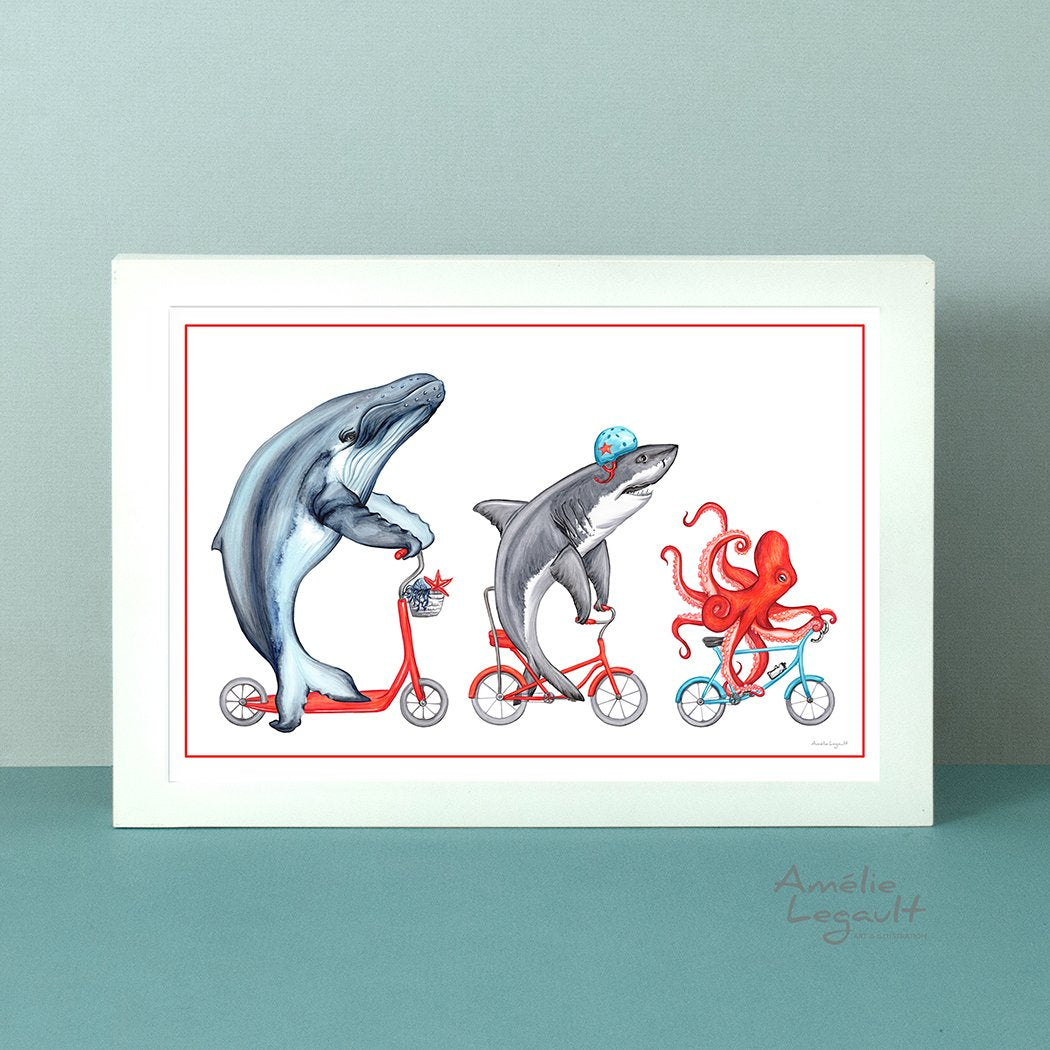 Whale, Shark and Octopus on bikes, art Print, Drawing, Home decor, sea animals, sea theme decor, washroom art, amelie legault