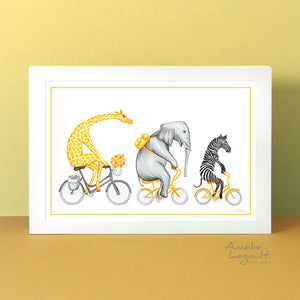 Giraffe, Elephant, zebra, art print, home decor, savannah animals, amelie legault, bicycle art print, bike drawing