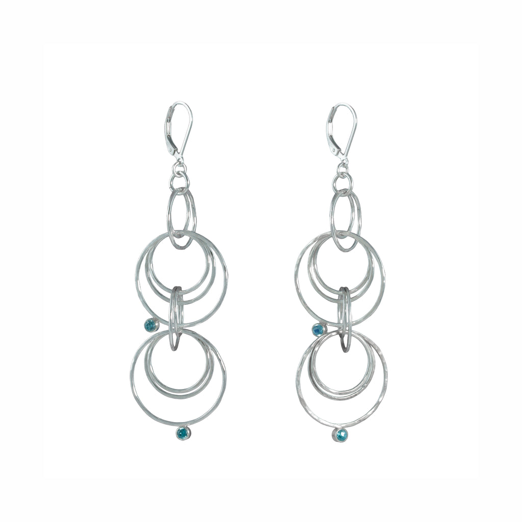 """Starry Night II"" Earrings - Blue Zircons"