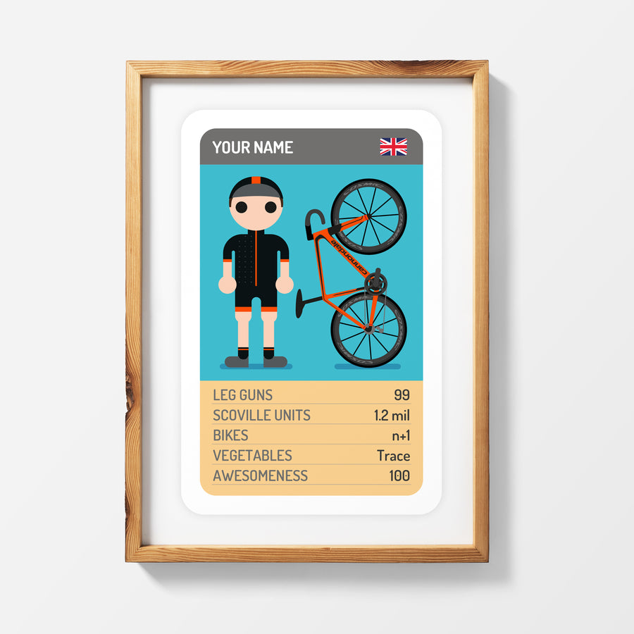CUSTOMISED TRUMP CARD PRINT WITH FULL KIT + BIKE