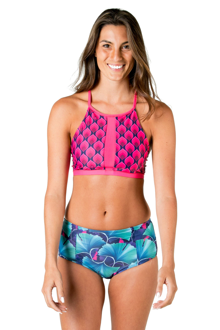 Ali High Neck Bikini Top (Ginko Garden / Mona Pink) Swim and Surf Tops Mona