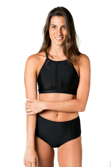 Ali High Neck Bikini Top (Black Shells / Solid Black) Swim and Surf Tops Mona