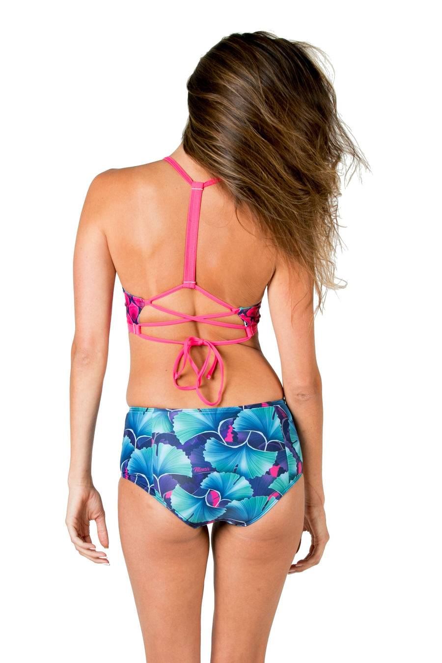 Beach Bum High Waisted Bikini Bottoms (Ginko Garden) Swim and Surf Bottoms Mona