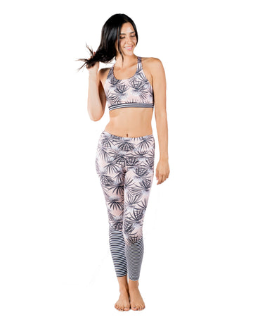 Bloom Eco-Friendly Yoga Leggings (Sweet Dreams / Black Stripes ) Yoga and Fitness Bottoms Mona