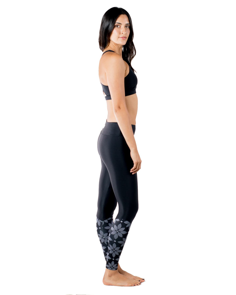 Bloom Eco-Friendly Yoga Leggings (Solid Black / Floral) Yoga and Fitness Bottoms Mona