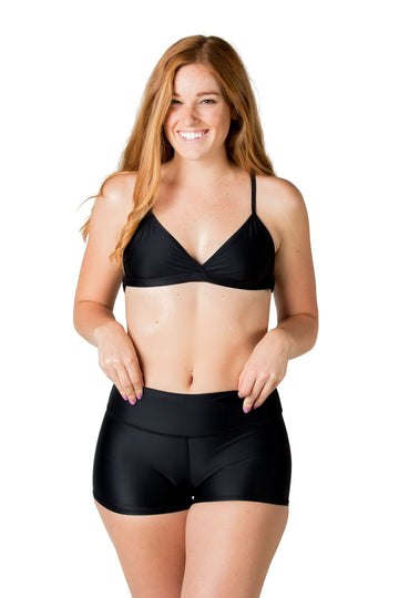 Caleta High Waisted Bikini Bottoms (Solid Black) Swim and Surf Bottoms Mona