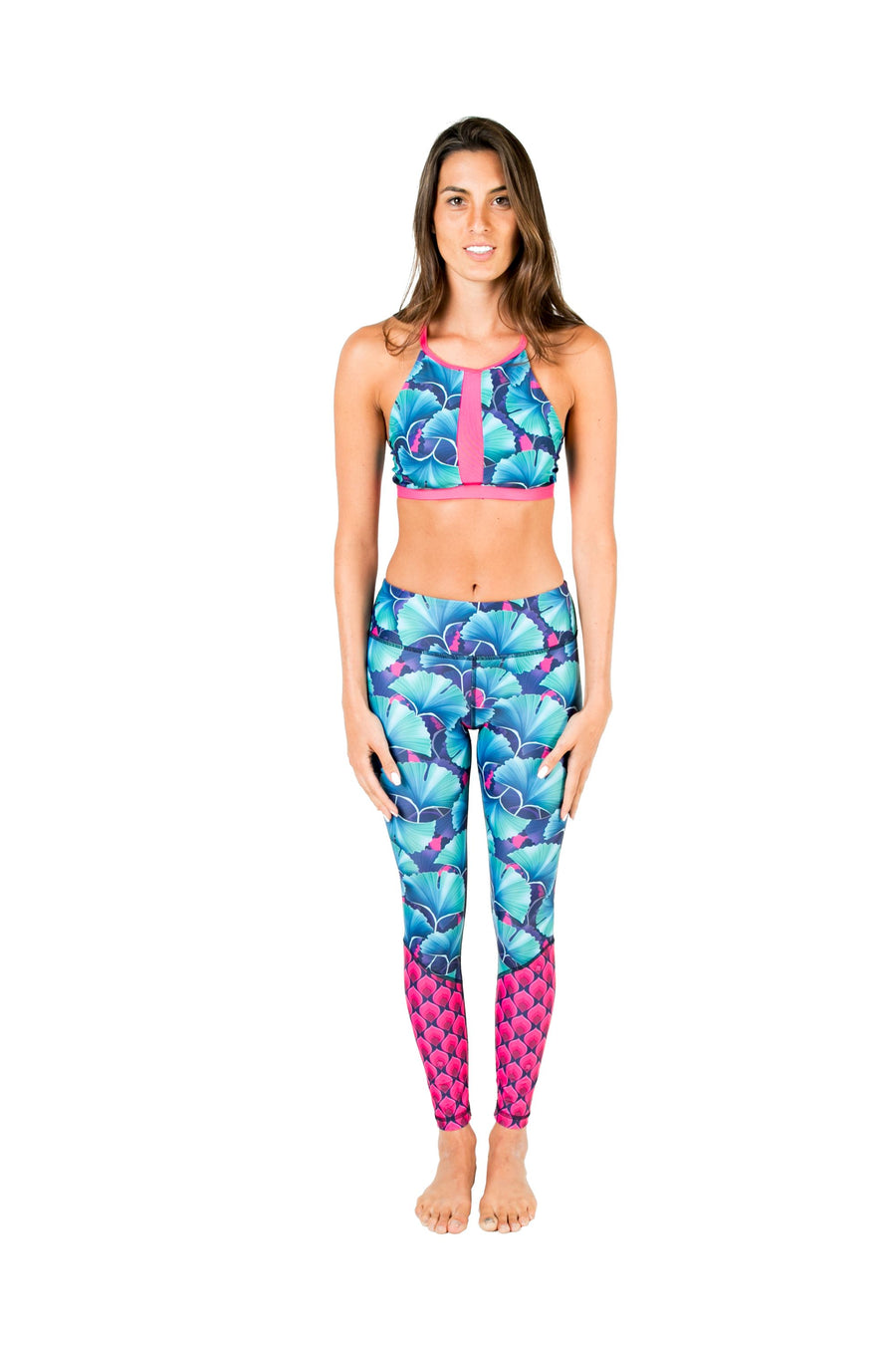 Fishtail Eco-Friendly Swim Leggings (Ginko Garden / Mona Drops) Swim and Surf Bottoms Mona