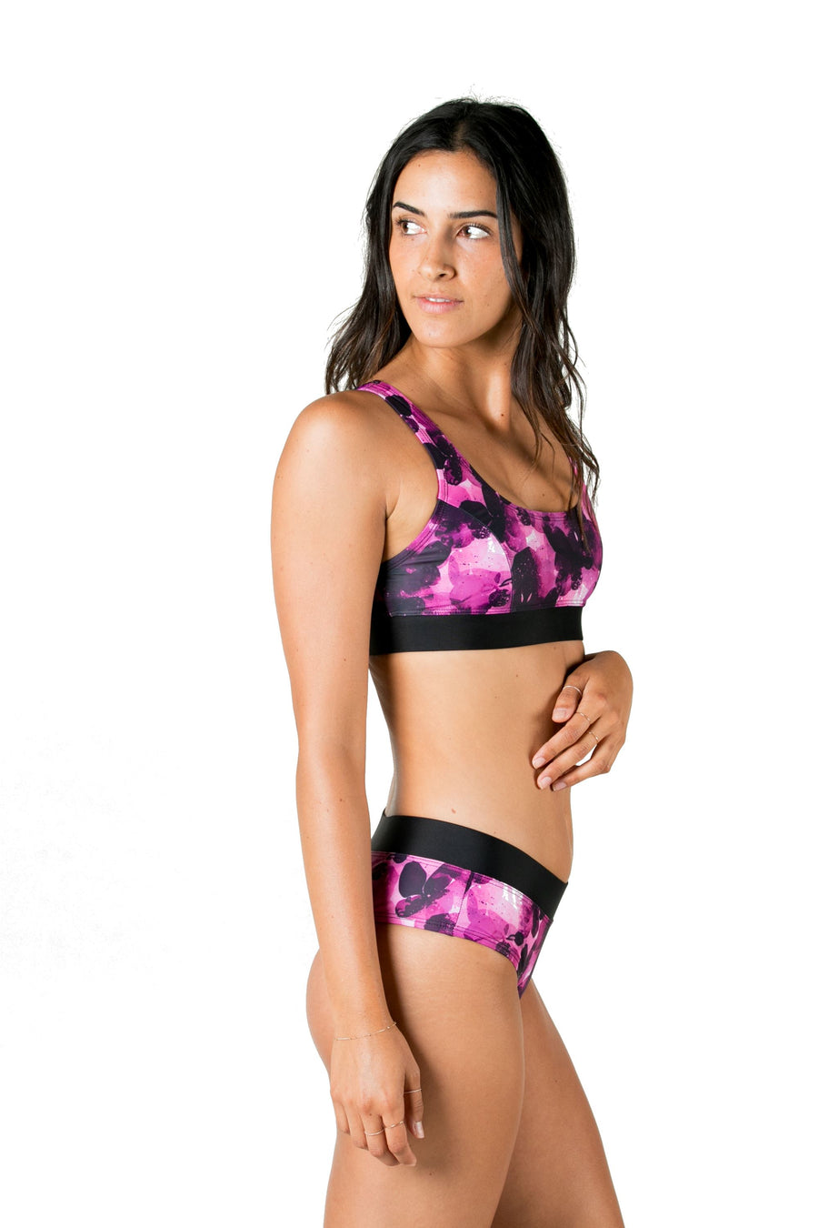Meraki Low Neckline Bikini Top (Fuchsia Night / Black Stripes) Swim and Surf Tops Mona