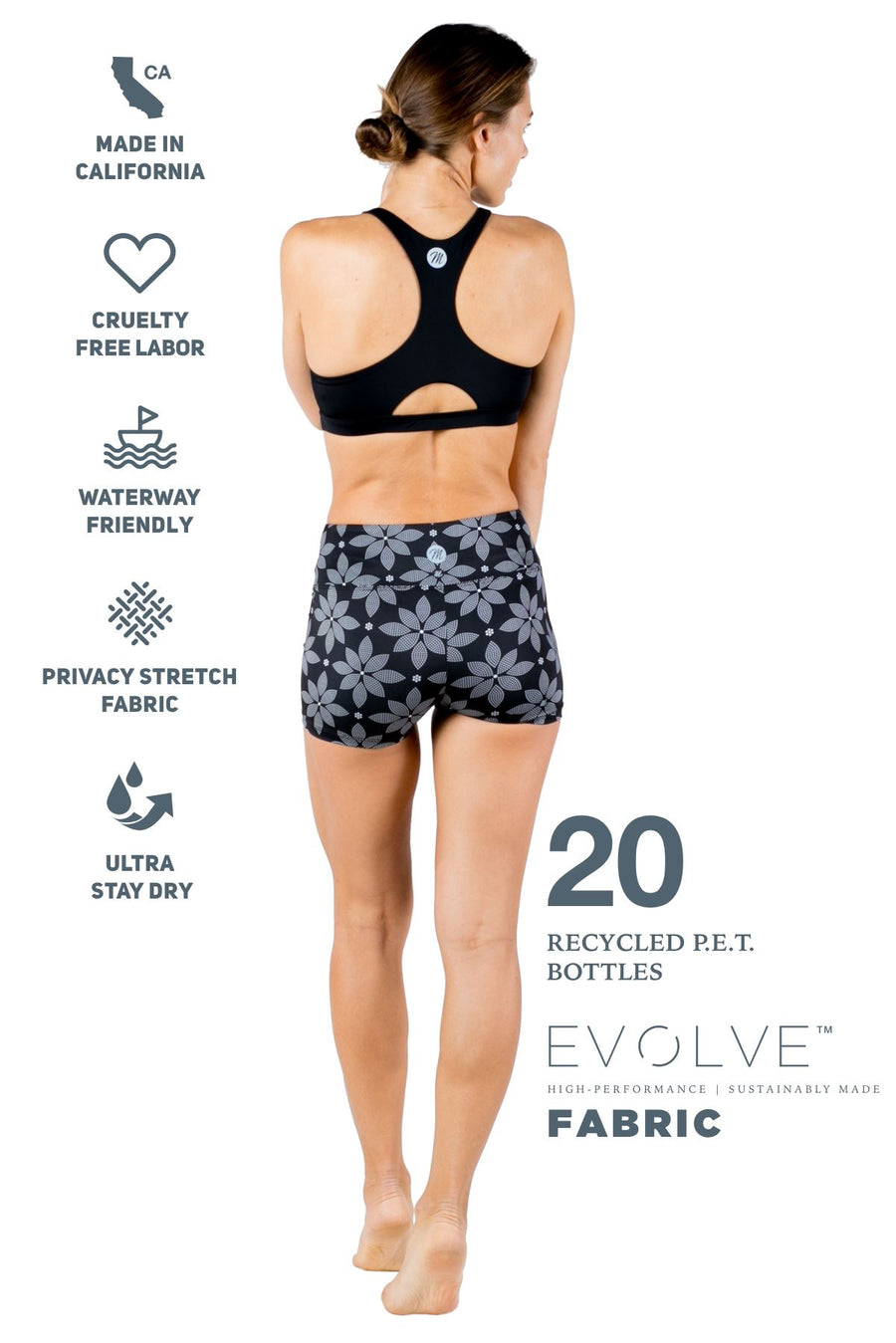 The Dreamer Eco-Friendly Sports Bra (Solid Black / Floral) Yoga and Fitness Tops Mona