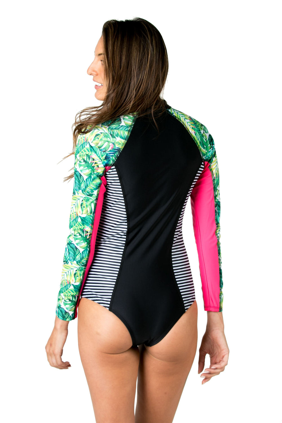 The Drifter Long Sleeve One Piece Surf Suit (In The Jungle) Swim and Surf One Piece Suits Mona