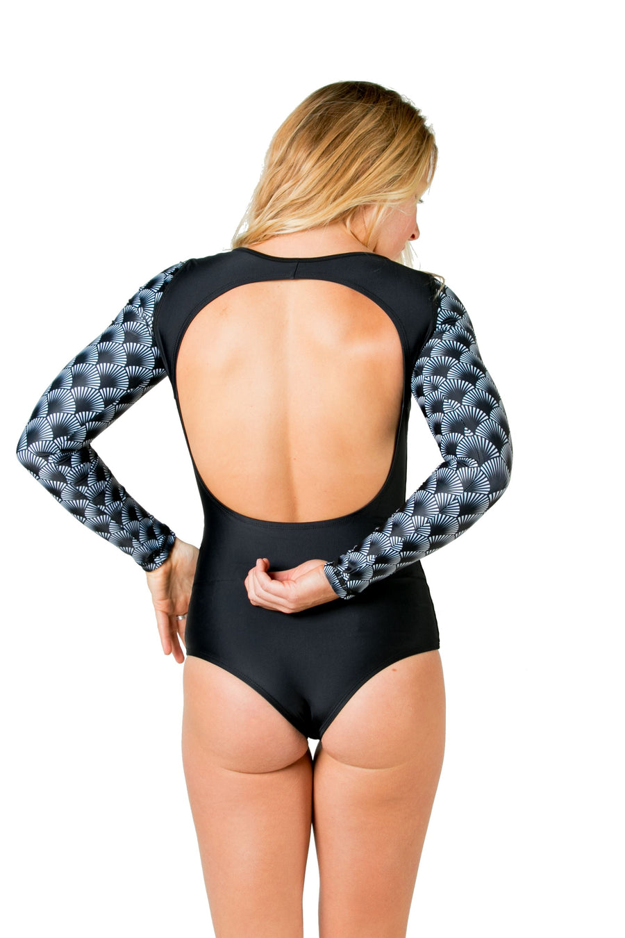 The True Love Long Sleeve Swimsuit (Black Shells / Solid Black) Swim and Surf One Piece Suits Mona
