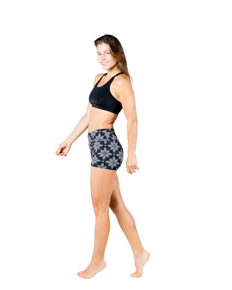 Vida High Wasted Yoga Shorts (Floral) Yoga and Fitness Bottoms Mona