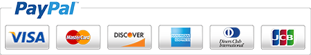 Paypal payments with Visa, MasterCard, American Express, Discover, and all major credit cards.