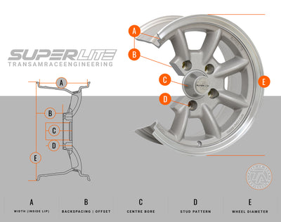 "Superlite 17x8 5x114.3 4.5"" Backspacing 73mm Centre Bore SPL178145"