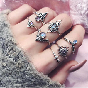 Silver Bohemian Vintage Stack Rings/7-Pieces - RBFFTW