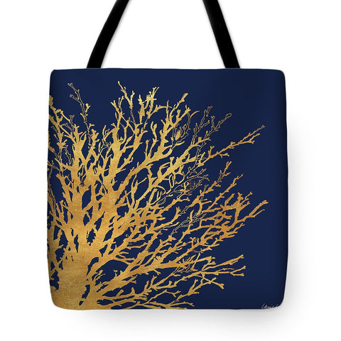 Gold Coral On Navy Tote Bag - RBFFTW