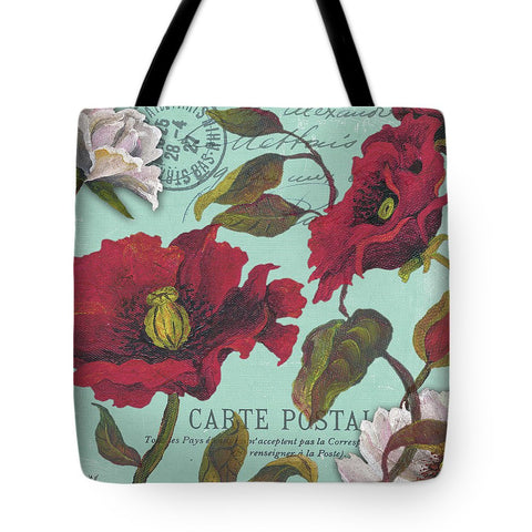Paris Aqua Flowers Tote Bag - RBFFTW
