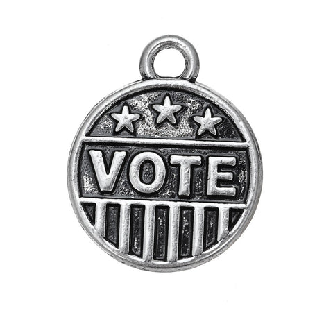 Antique Silver-Plated Vote Pendant Charm - RBFFTW