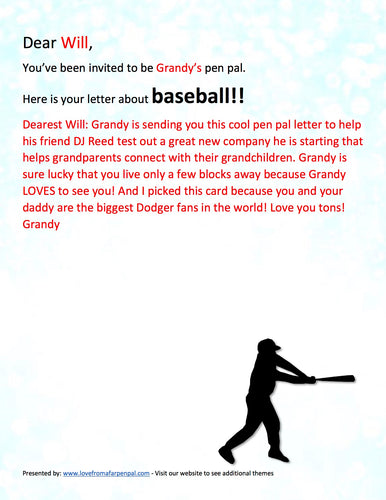 Baseball Pen Pal Letter