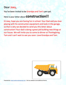 Construction/Heavy Equipment Pen Pal Letter